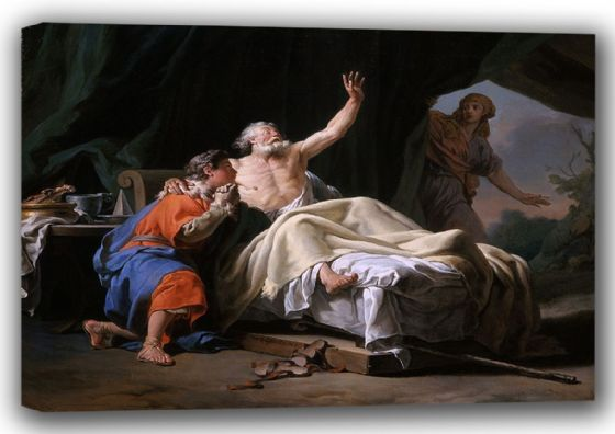 Brenet, Nicolas Guy: Isaac Blessing Jacob. Biblical Scene, Fine Art Canvas. Sizes: A4/A3/A2/A1 (001503)